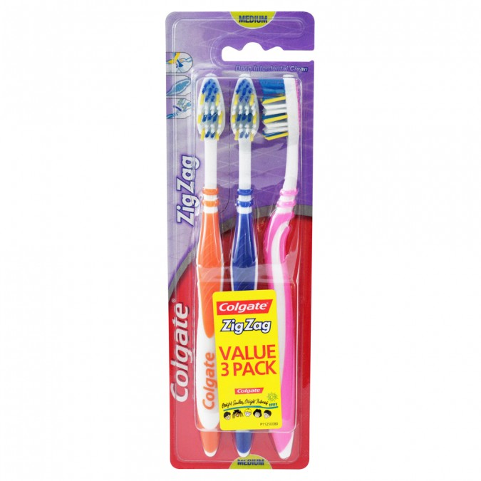 COLGATE ZigZag Toothbrush Medium Value 3 Pack