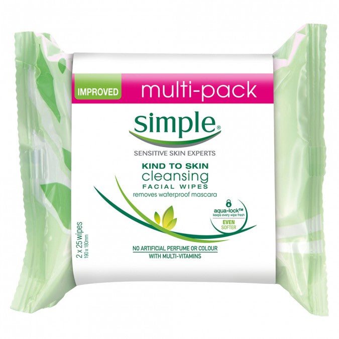 SIMPLE Kind To Skin Cleansing Facial Wipes Twin Pack 50 Wipes
