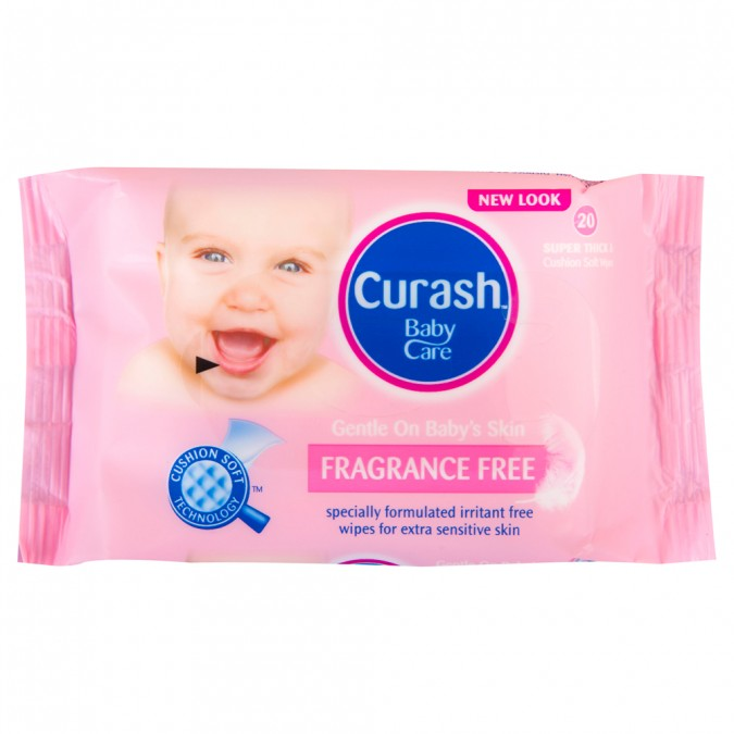 CURASH Fragrance Free Baby Wipes 20 Wipes