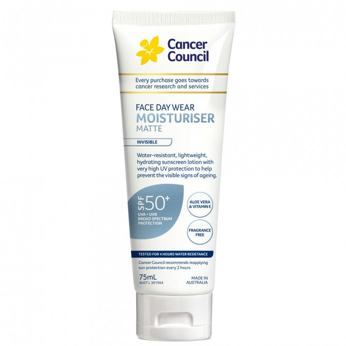 CANCER COUNCIL Face Day Wear Moisturiser Matte SPF50+ Invisible 75mL