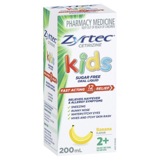 ZYRTEC Hayfever Kids Oral Liquid Banana Flavour 200mL