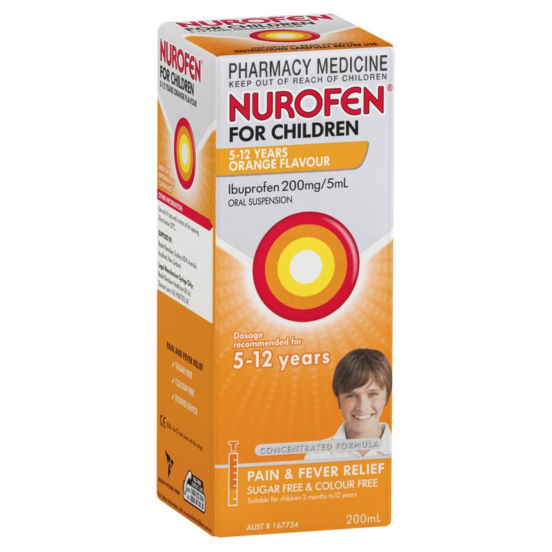 NUROFEN For Children 5 to 12 Years Pain and Fever Relief Concentrated Liquid - Orange 200mL