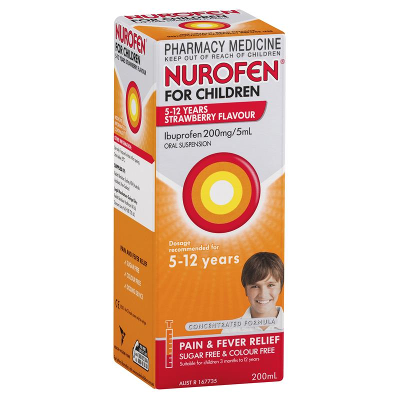 NUROFEN For Children 5 to 12 Years Pain and Fever Relief Concentrated Liquid - Strawberry 200mL