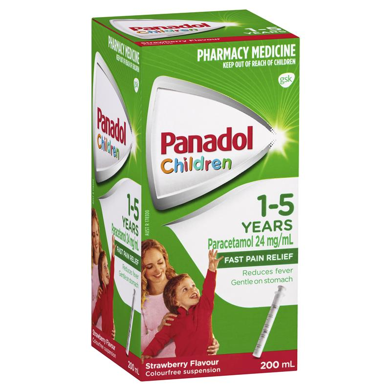 PANADOL Children 1-5 Years Fever & Pain Relief - Strawberry Flavour with Dosing Device 200mL