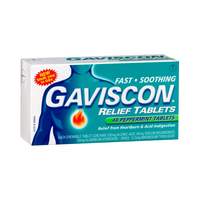 GAVISCON Heartburn & Indigestion Relief Peppermint Chewable Tablets 48 Pack