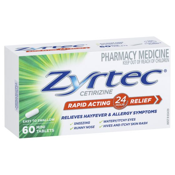ZYRTEC Allergy & Hayfever Antihistamine 60 Mini Tablets