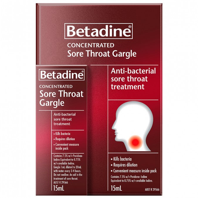 BETADINE Concentrated Sore Throat Gargle 15mL