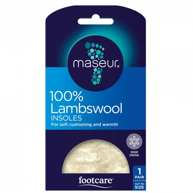 MASEUR FOOTCARE Lambswool Foam Latex Backed Insoles 1 Pair