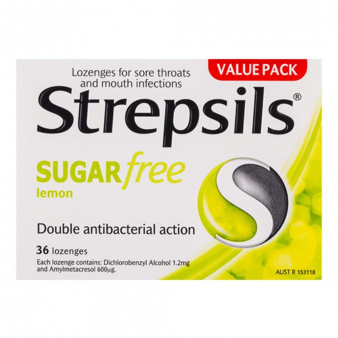STREPSILS Sugar Free Throat Lozenges Lemon 36 Pack
