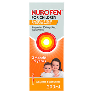 NUROFEN For Children 3 Months to 5 Years Pain and Fever Relief Concentrated Liquid - Orange 200mL