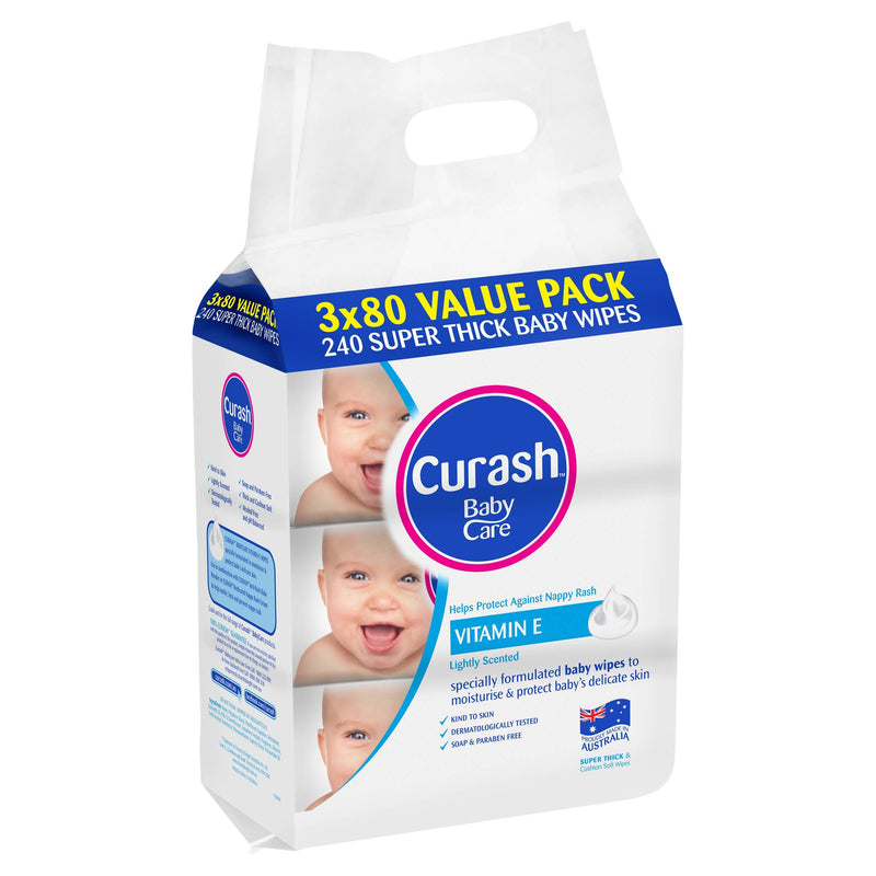 Curash Baby Wipes Vitamin E 3 x 80 Pack - Best Buy Pharmacy
