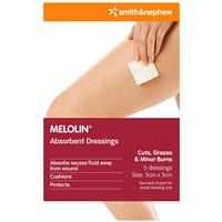 SMITH & NEPHEW Melolin Absorbent Dressings - 5cm x 5cm 5 Pack