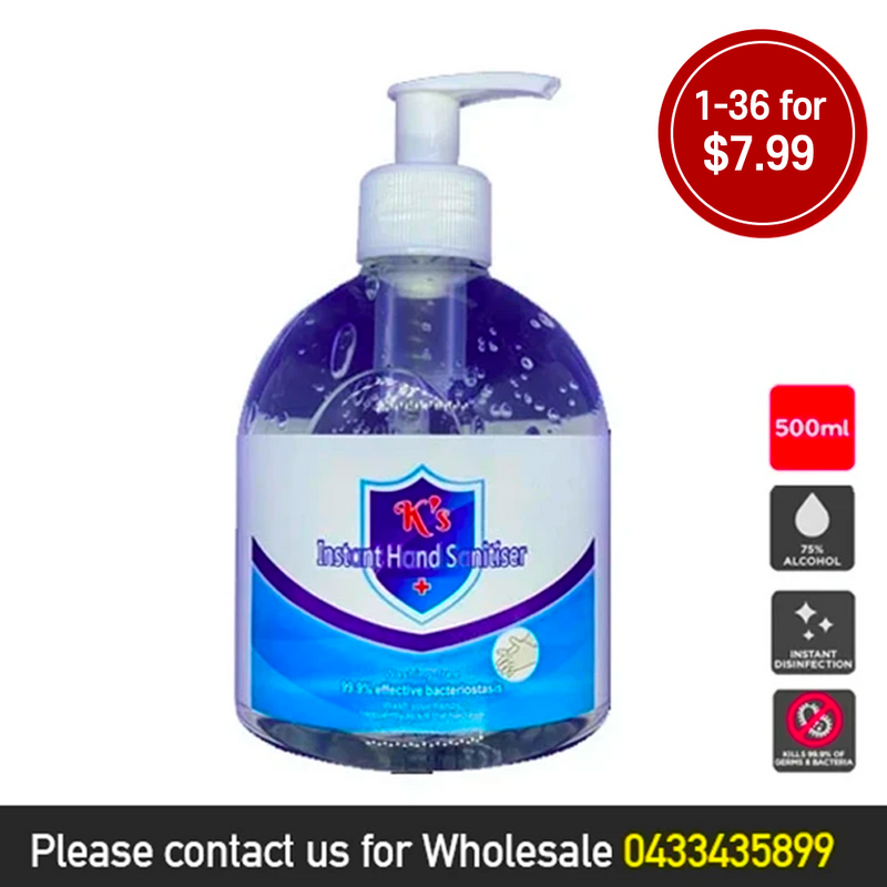 K's Instant Hand Sanitiser Gel 500ML 1-36 for $7.99 - Best Buy Pharmacy