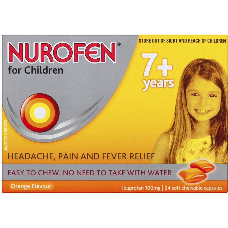 Nurofen For Children 7+ Pain and Fever Relief Chewable Capsules - Orange 24 Packs - Best Buy Pharmacy