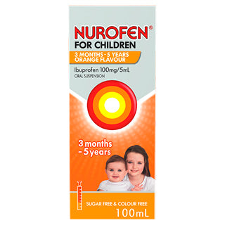 Nurofen For Children 3 Months to 5 Years Pain and Fever Relief Concentrated Liquid - Orange 100mL - Best Buy Pharmacy