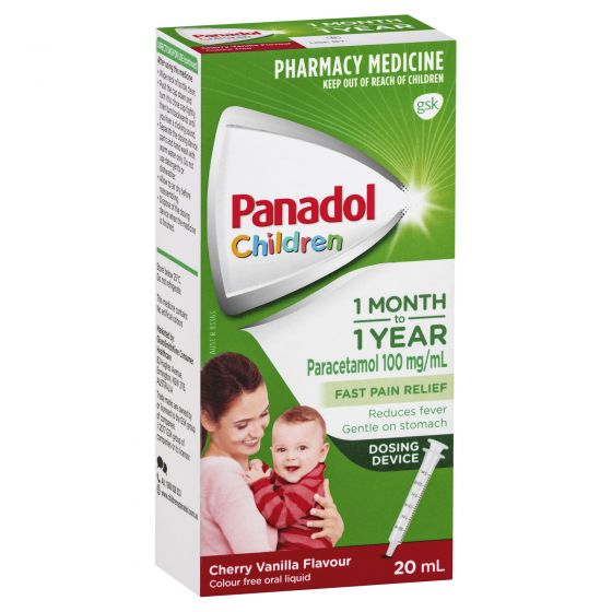 PANADOL Children 1 Month-2 Years Fever & Pain Relief - Cherry Vanilla Flavour with Dosing Device 20mL - Best Buy Pharmacy