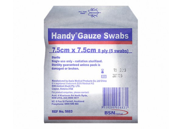 HANDY Gauze Swabs - 7.5cm x 7.5cm 5 Pack