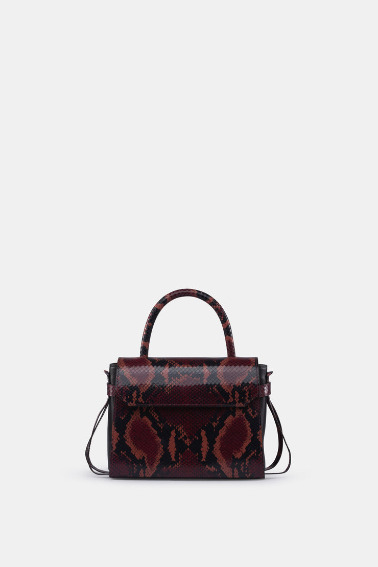 CARI MINI SATCHEL PYTHON RED