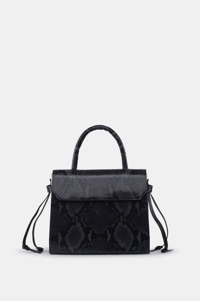 CARI SATCHEL SOFT LEATHER PRINT BLACK