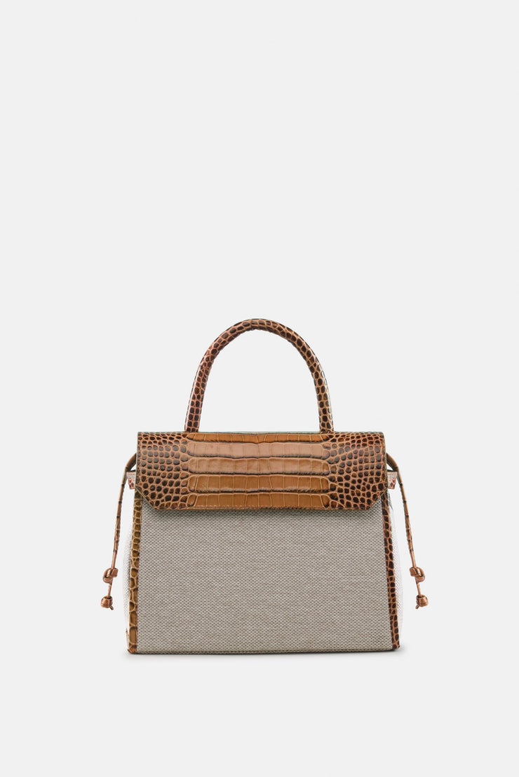 CARI SATCHEL NATURAL CROCO BROWN