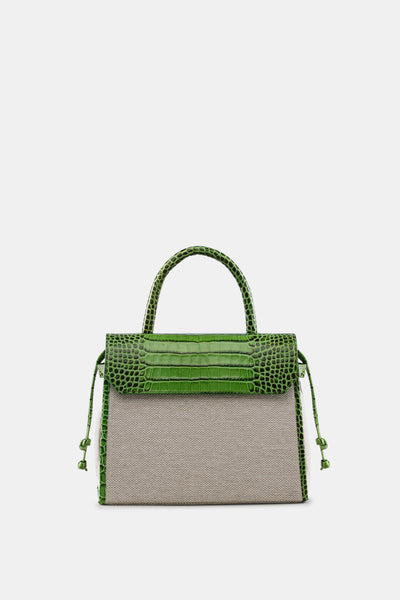 CARI SATCHEL NATURAL CROCO GREEN