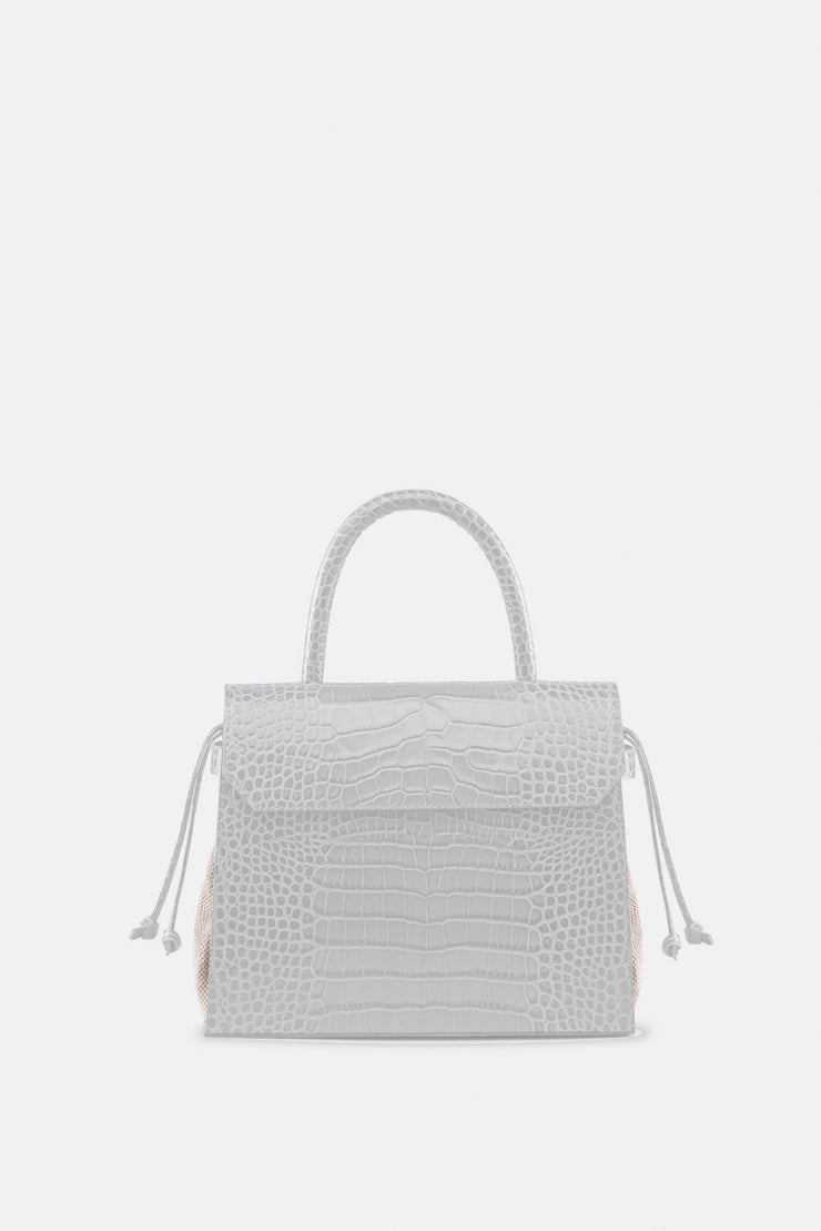 CARI SATCHEL CROCO WHITE