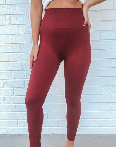 Maroon Seamless Butter Leggings