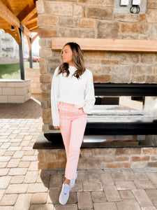 Pink Plaid High-Waisted Trousers