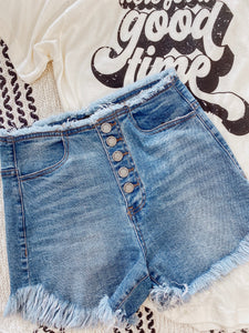 High-Waisted Button Down Shorts