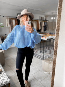 Blue Bubble Sleeve Sweater