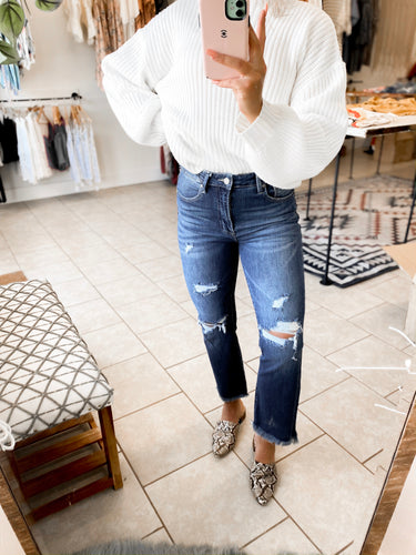 Medium Wash High-Rise Crop Boot Jeans