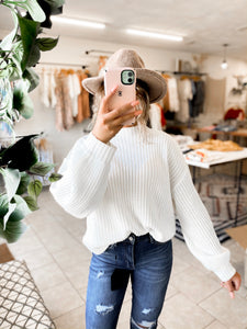 White Lantern Sleeve Sweater