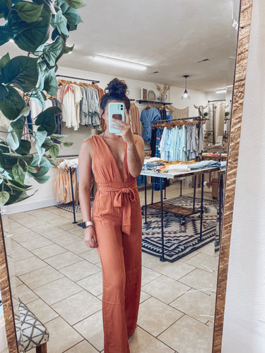 Coral V-Cut Jumpsuit