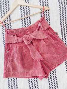 Berry Corduroy Shorts