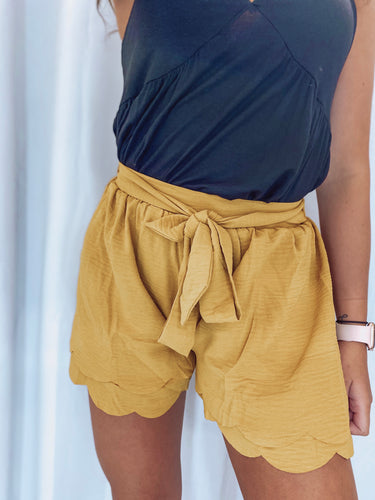 Burnt Mustard Scalloped Shorts