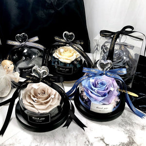Exclusive Rose in Glass Dome with Lights - Real Rose, Preserved Rose Valentines Day Gift