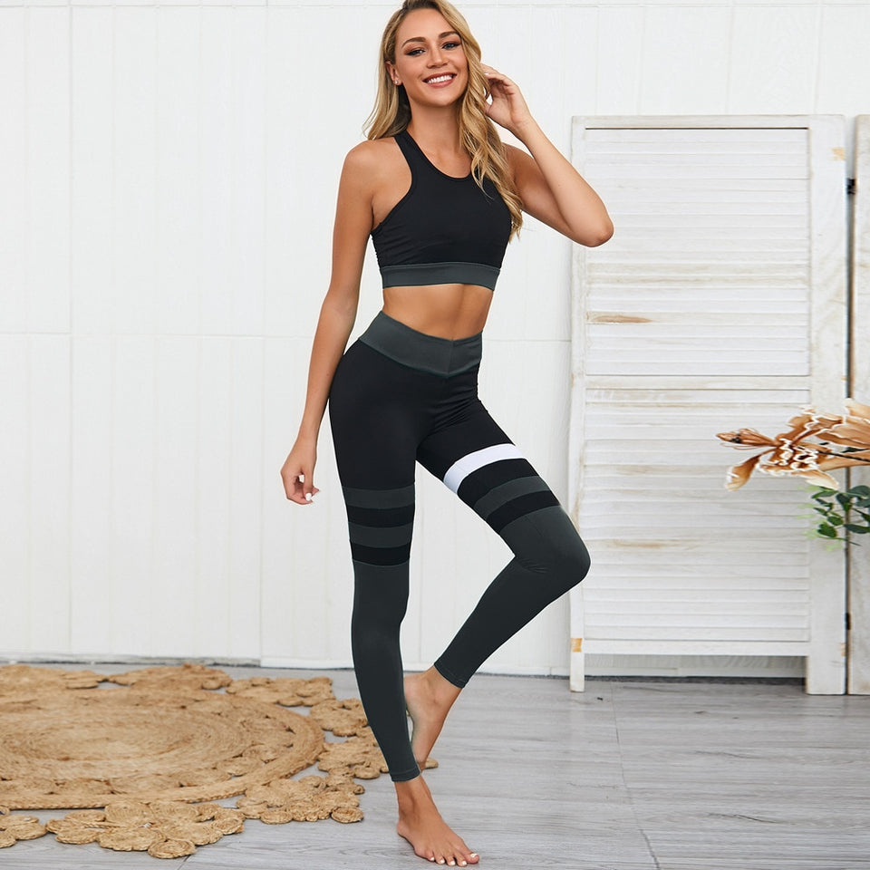 Woman New Stripe Yoga Patchwork Fitness Wear Set