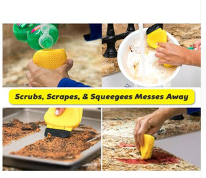 3-In-1 Silicone Sponge Brush Hero Cleaning Brush Squeegees for Built with Soap Dispenser in Kitchen Cleaning