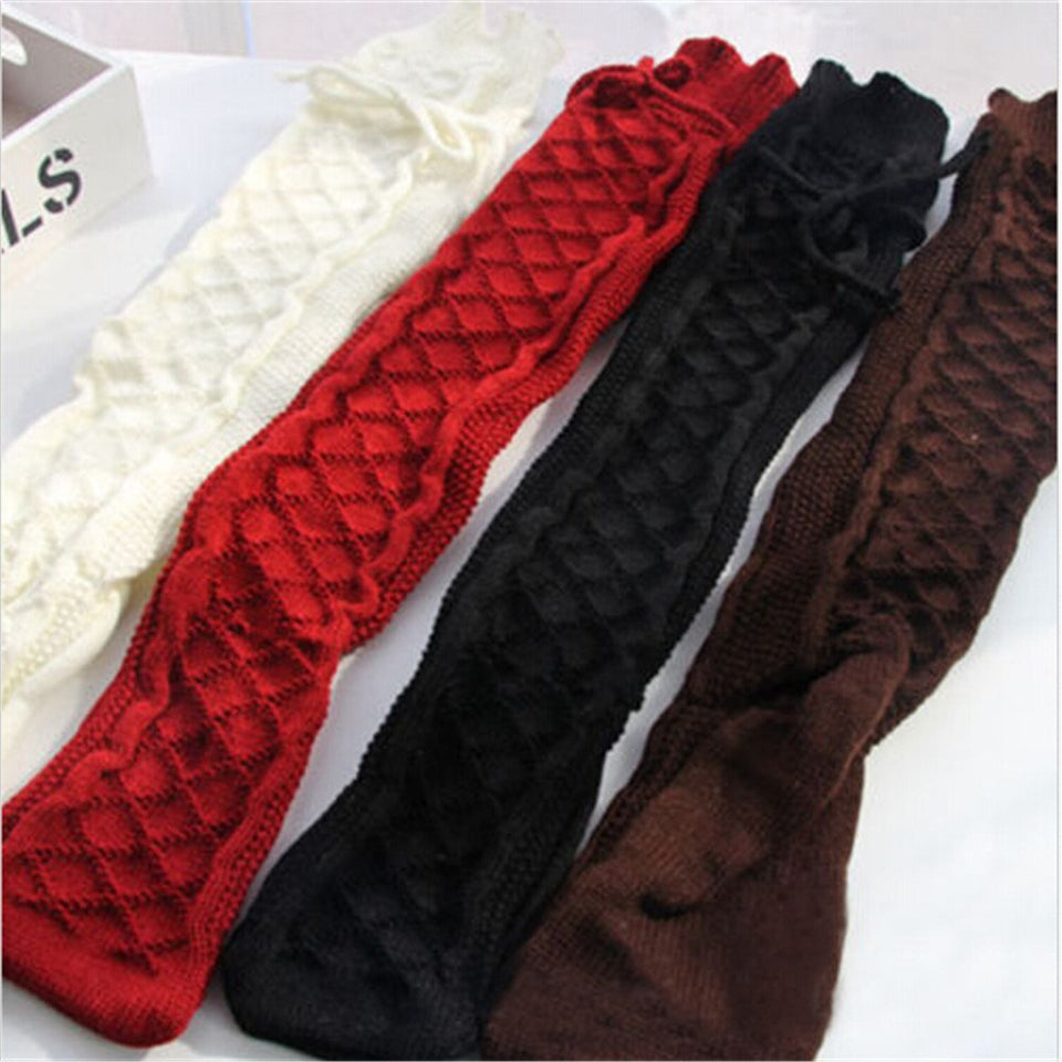 Winter Over Knee Socks Sexy Womens Cable Knit Over Knee Long Boot Winter Warm Thigh-High Soft Socks Leggings