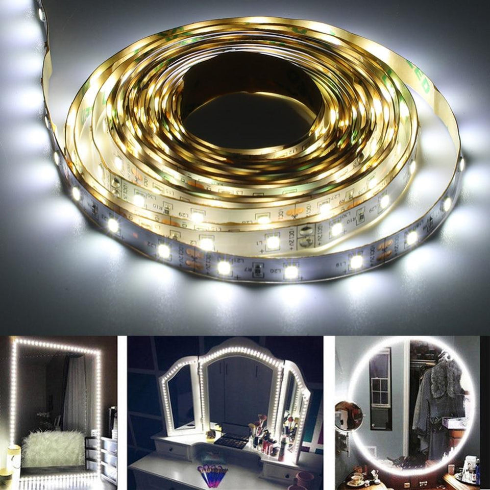 Cosmetic Mirror 3 Types 13ft SMD 240 LED Makeup Mirror Strip Bar Vanity Mirror Makeup Lamp Flexible Strip Light Kit - Charlie Dreams