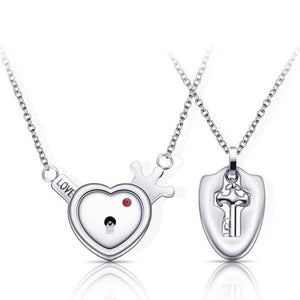 Couple Lovers Jewelry Love Heart Lock Bracelet Stainless Steel Bracelets Bangles Key Pendant Necklace Jewelry