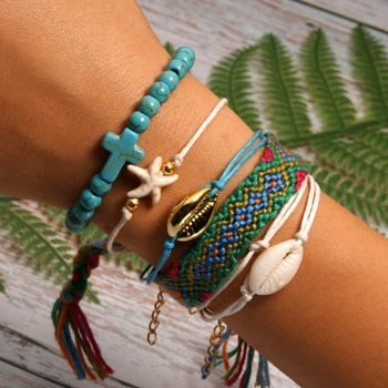 6 Pieces Puka Shell Bracelet Set Cross Beads Weave Boho Fashion Girl Friendship Charm Bracelet Summer Jewelry