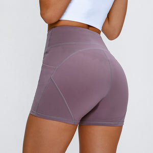 Women High Waisted Anti-sweat Plain Sport Athletic Yoga Shorts