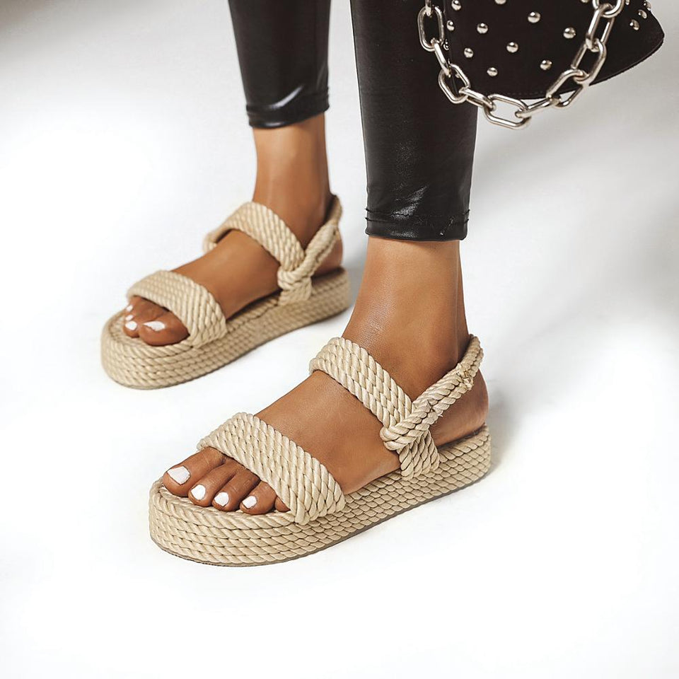 Rope Female Comfortable Platform Beach Wedge Shoes