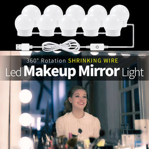 USB LED 12V Vanity Mirror Makeup Lamp 10 Bulbs Kit For Dressing Table Stepless Light 8W