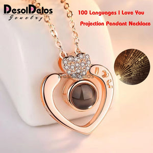 I Love You Projection Charm Pendant Necklaces Heart-shaped Crystal Wedding Ladies Necklace