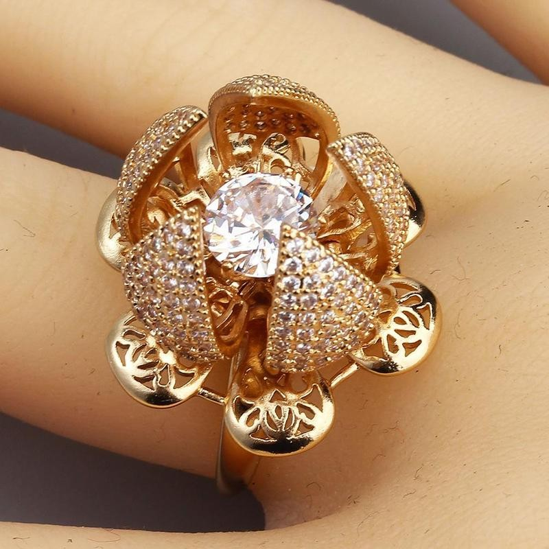 Adjustable Flower Blooming Ring Wedding Jewelry Love Ring for Women
