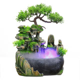 Wealth Feng Shui Company Office Tabletop Ornaments Desktop Flowing Water Waterfall Fountain With Color Changing LED Lights Spray