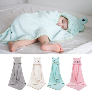 Baby Poncho Bath Towel  Toalla Velvet 90*90cm Fleece Hood Infant Towels Blanket Newborn Baby Hooded Towel Infant Babies Spa