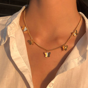 Gold Chain Butterfly Pendant Choker Necklace Women Statement Collares Bohemian Beach Jewelry Gift Collier
